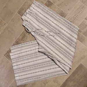 Just Living Blk&White Linen Blend Wide Leg Pants